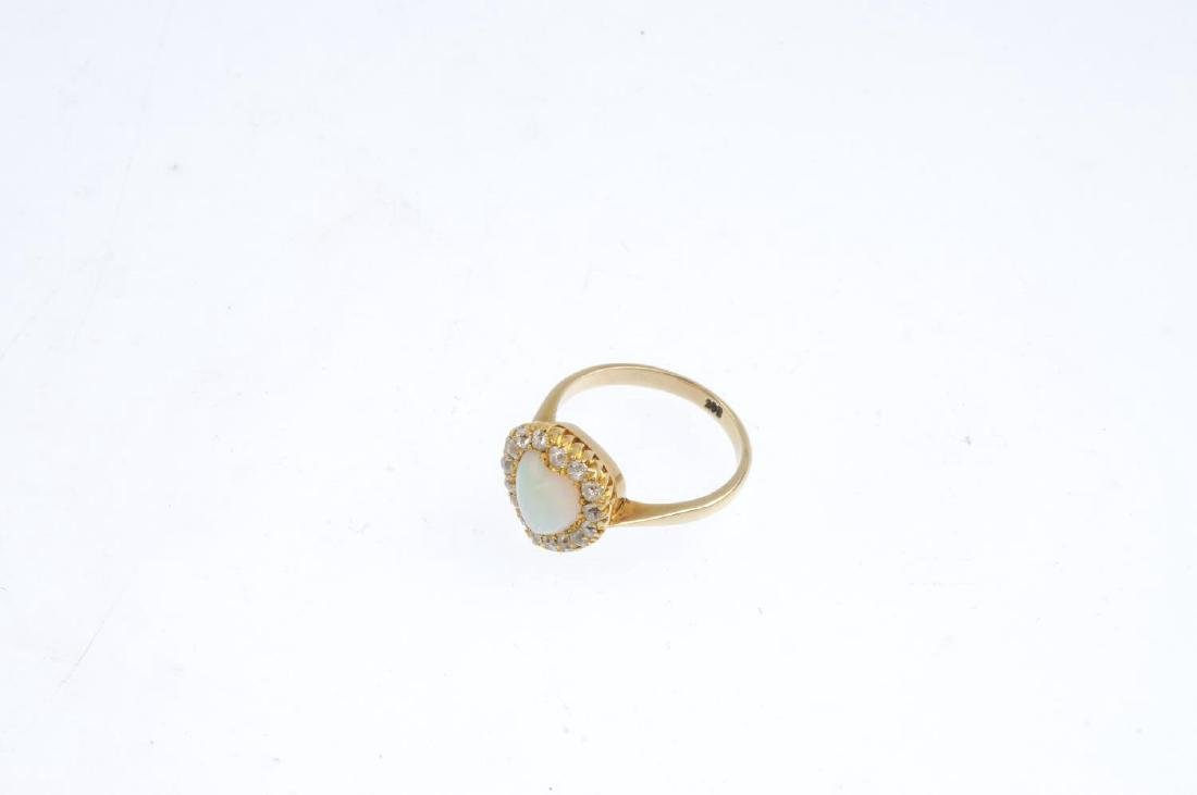 An early 20th century gold, opal and diamond cluster - 2