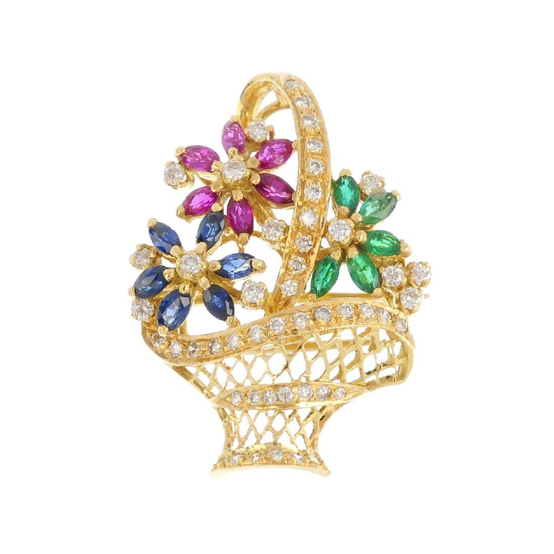 An 18ct gold diamond and gem-set brooch. Designed as a