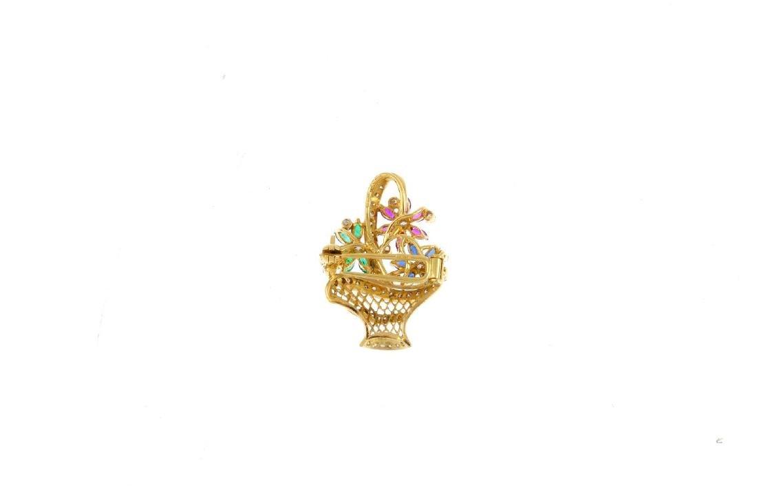 An 18ct gold diamond and gem-set brooch. Designed as a - 2