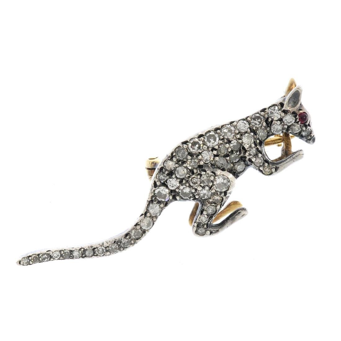 An early 20th century diamond kangaroo brooch. Designed