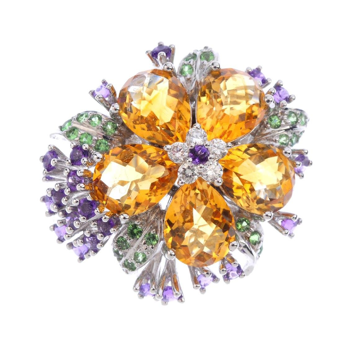A diamond and gem-set floral dress ring. The amethyst
