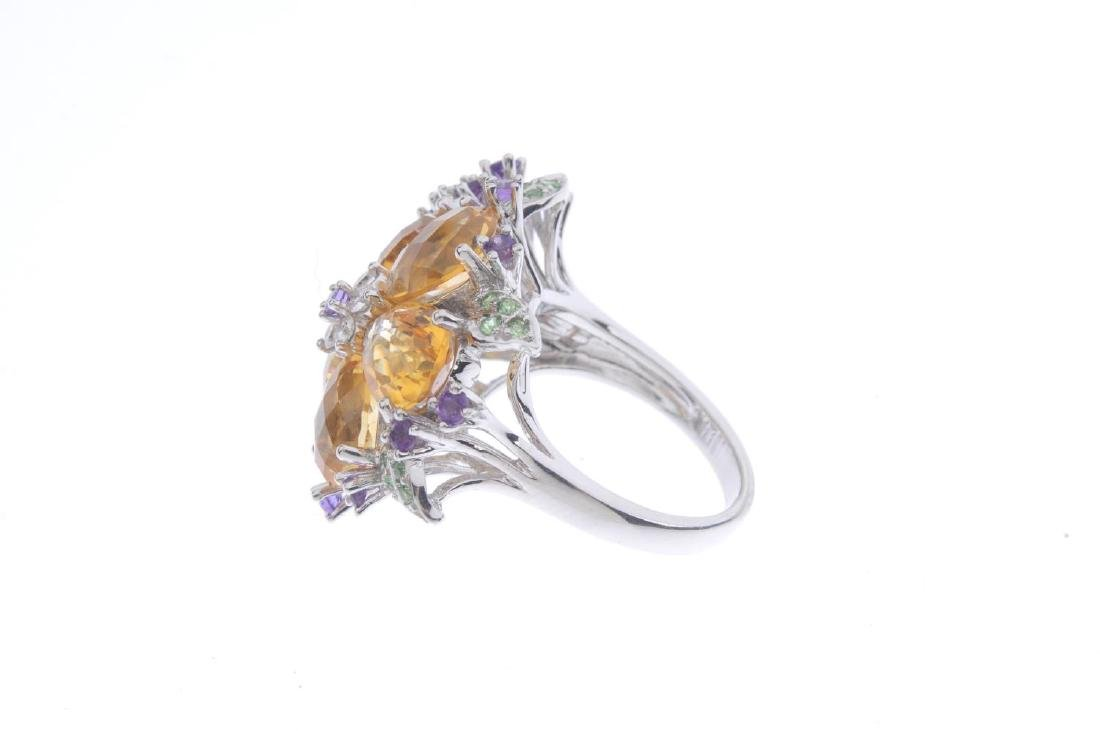 A diamond and gem-set floral dress ring. The amethyst - 2