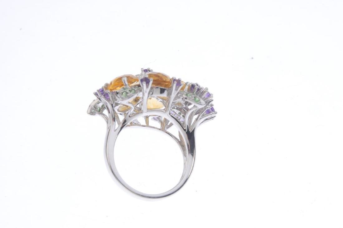 A diamond and gem-set floral dress ring. The amethyst - 3