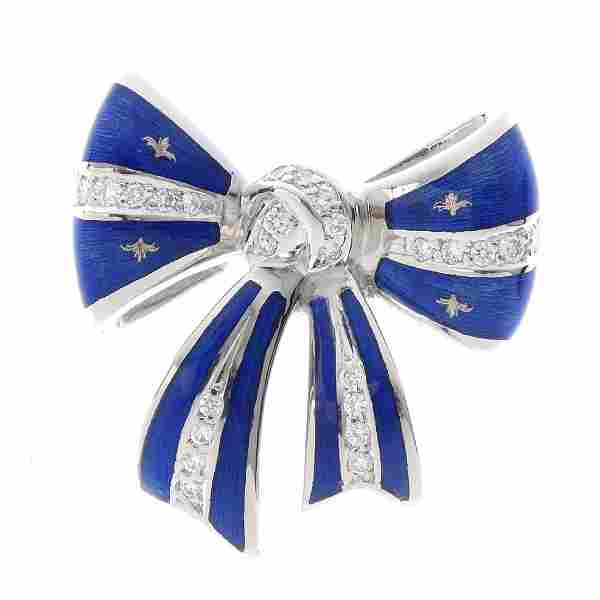 FABERGE - an 18ct gold diamond and enamel brooch. The