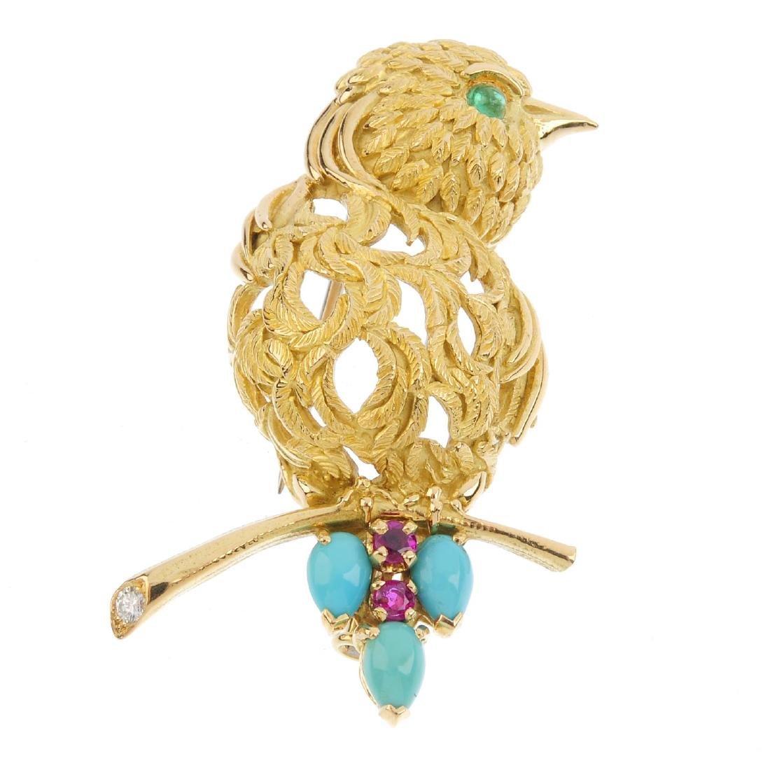 A 1950's 18ct gold diamond and gem-set bird brooch. The