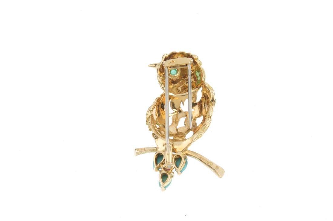 A 1950's 18ct gold diamond and gem-set bird brooch. The - 2