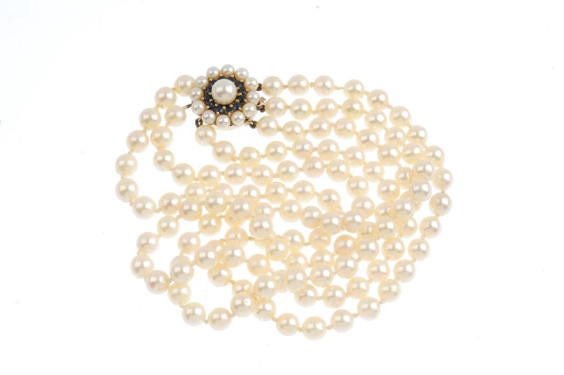 A cultured pearl three-row necklace. Comprising three - 2