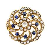 A late Victorian gold diamond and gem-set brooch.