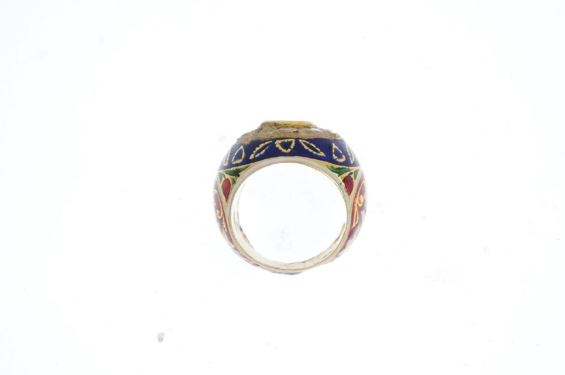 A diamond and enamel dress ring. The rose-cut diamond - 2