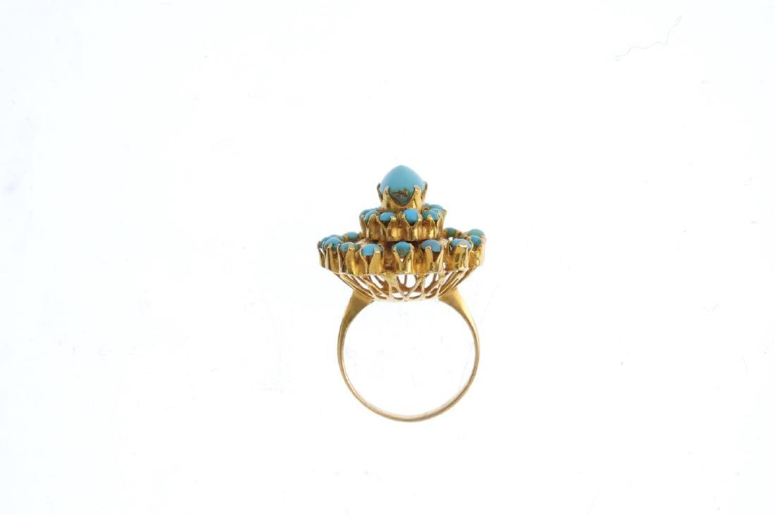 A turquoise floral ring. The oval and circular - 2