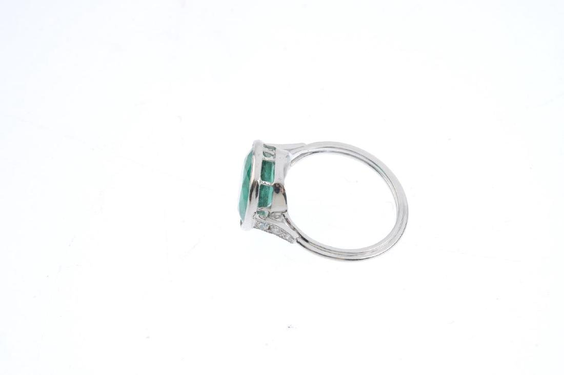 A paste and diamond ring. The circular-shape green - 2