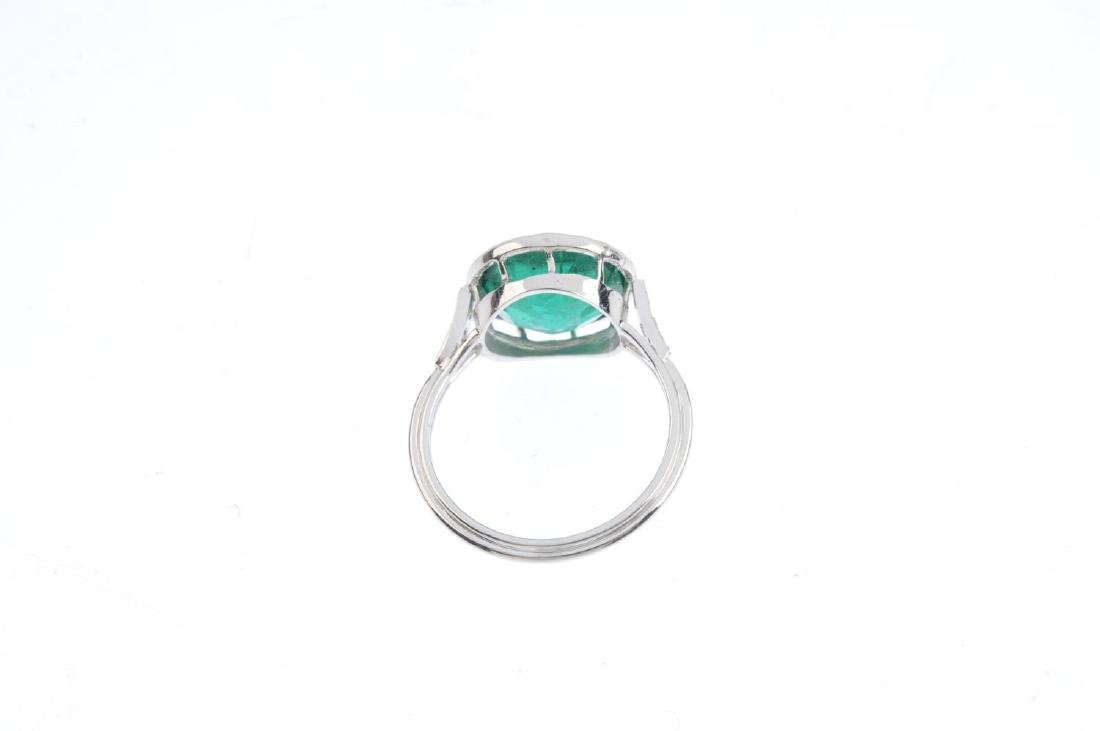 A paste and diamond ring. The circular-shape green - 3
