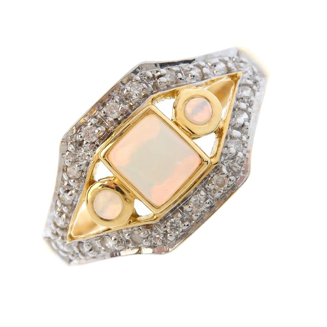 An opal and diamond dress ring. Of openwork design, the