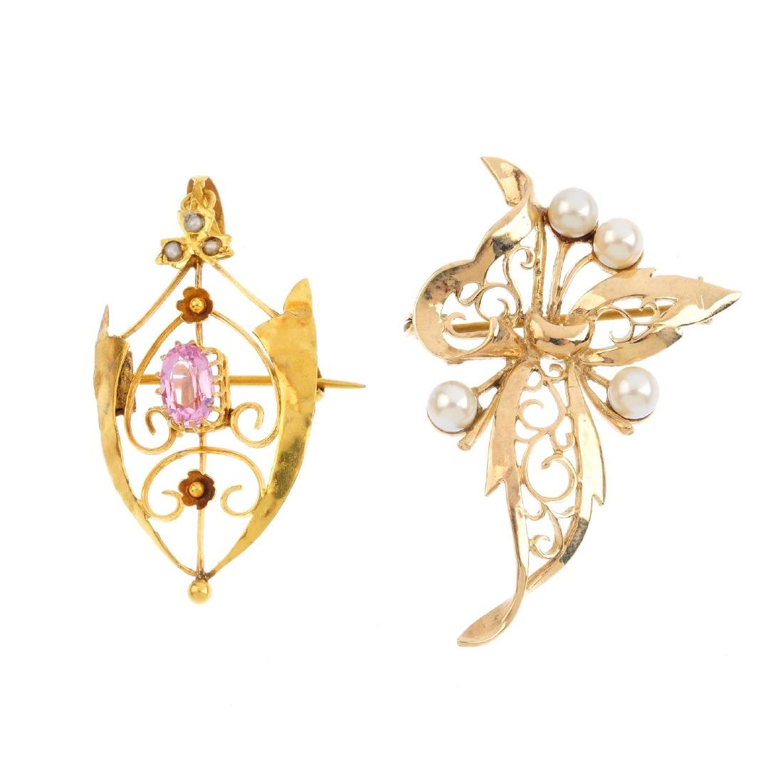 Two gold and gem-set brooches. To include an Edwardian