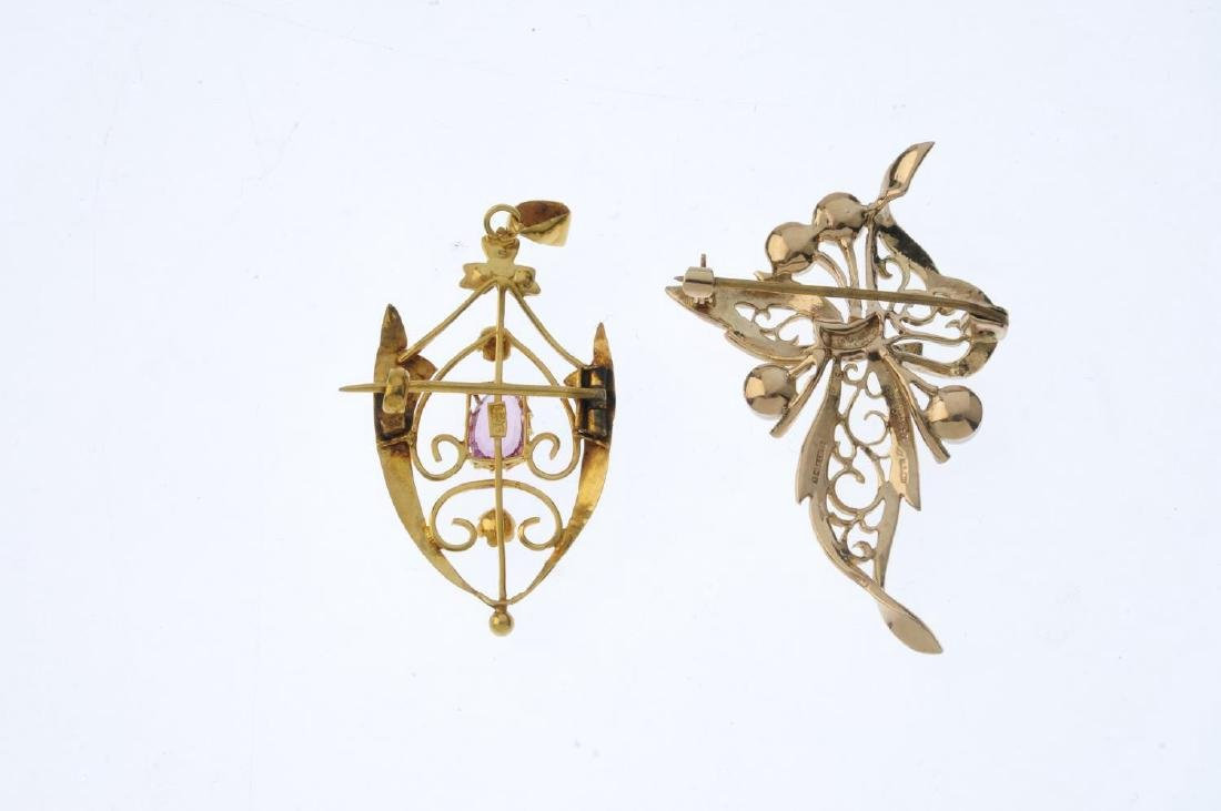 Two gold and gem-set brooches. To include an Edwardian - 2