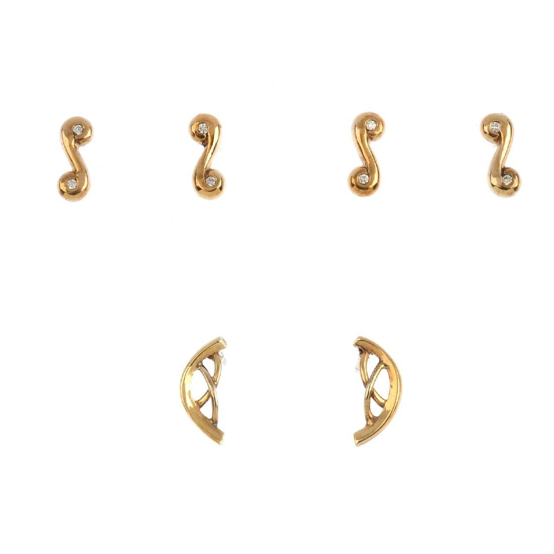 Three pairs of 9ct gold earrings. To include two pairs