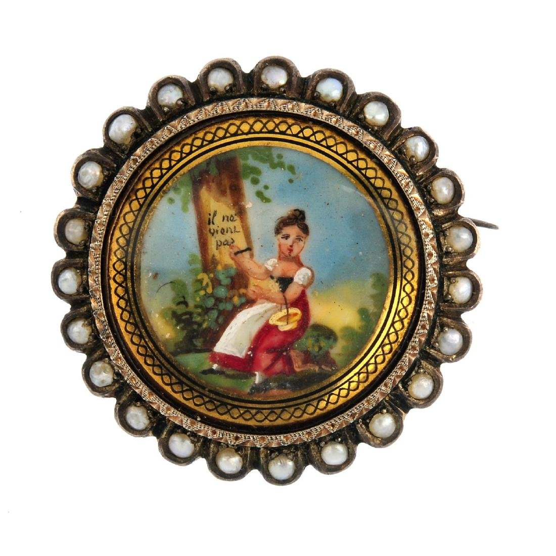 An early 20th century continental brooch. Depicting a