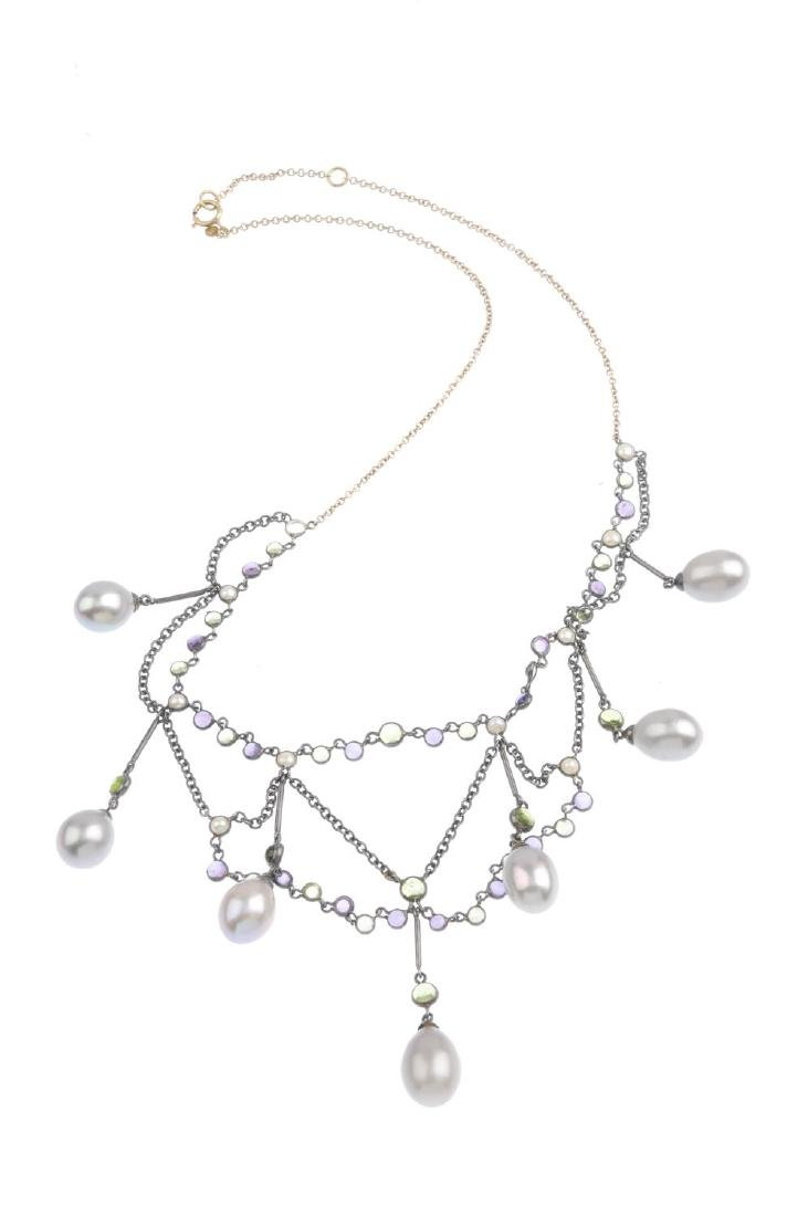 A cultured pearl and gem-set necklace. Designed as an - 2