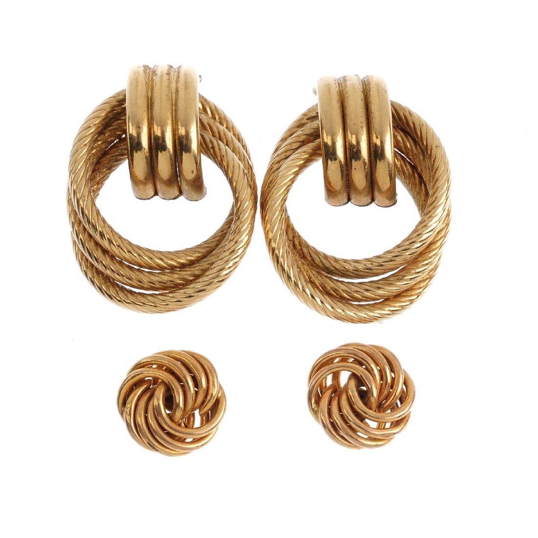 Three pairs of 9ct gold earrings. To include a pair of