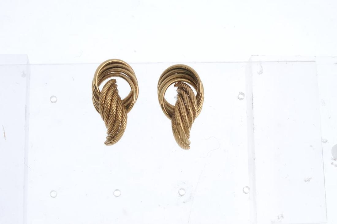 Three pairs of 9ct gold earrings. To include a pair of - 2