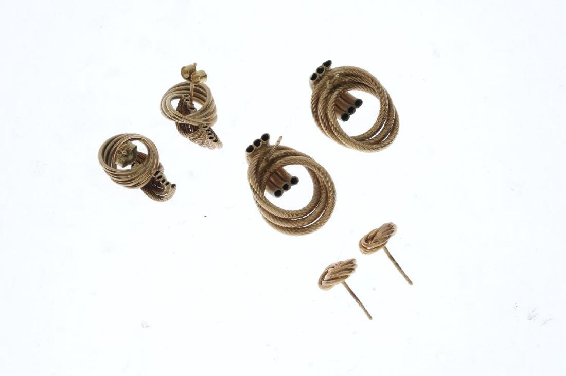 Three pairs of 9ct gold earrings. To include a pair of - 3