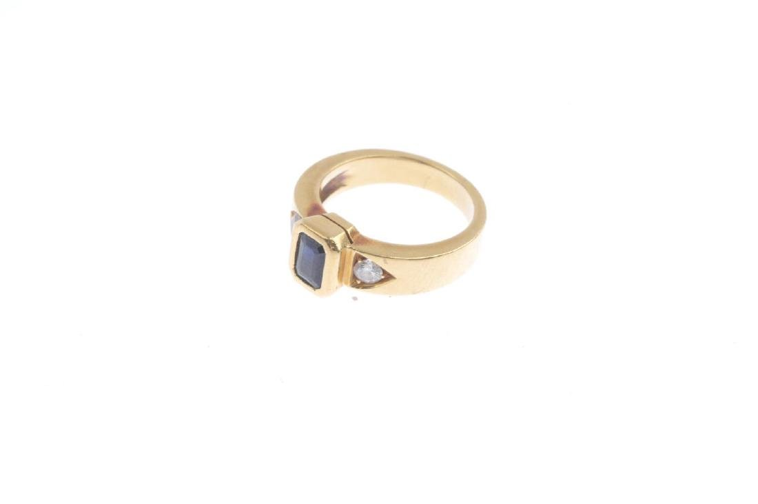 A sapphire and diamond ring. Designed as a - 3