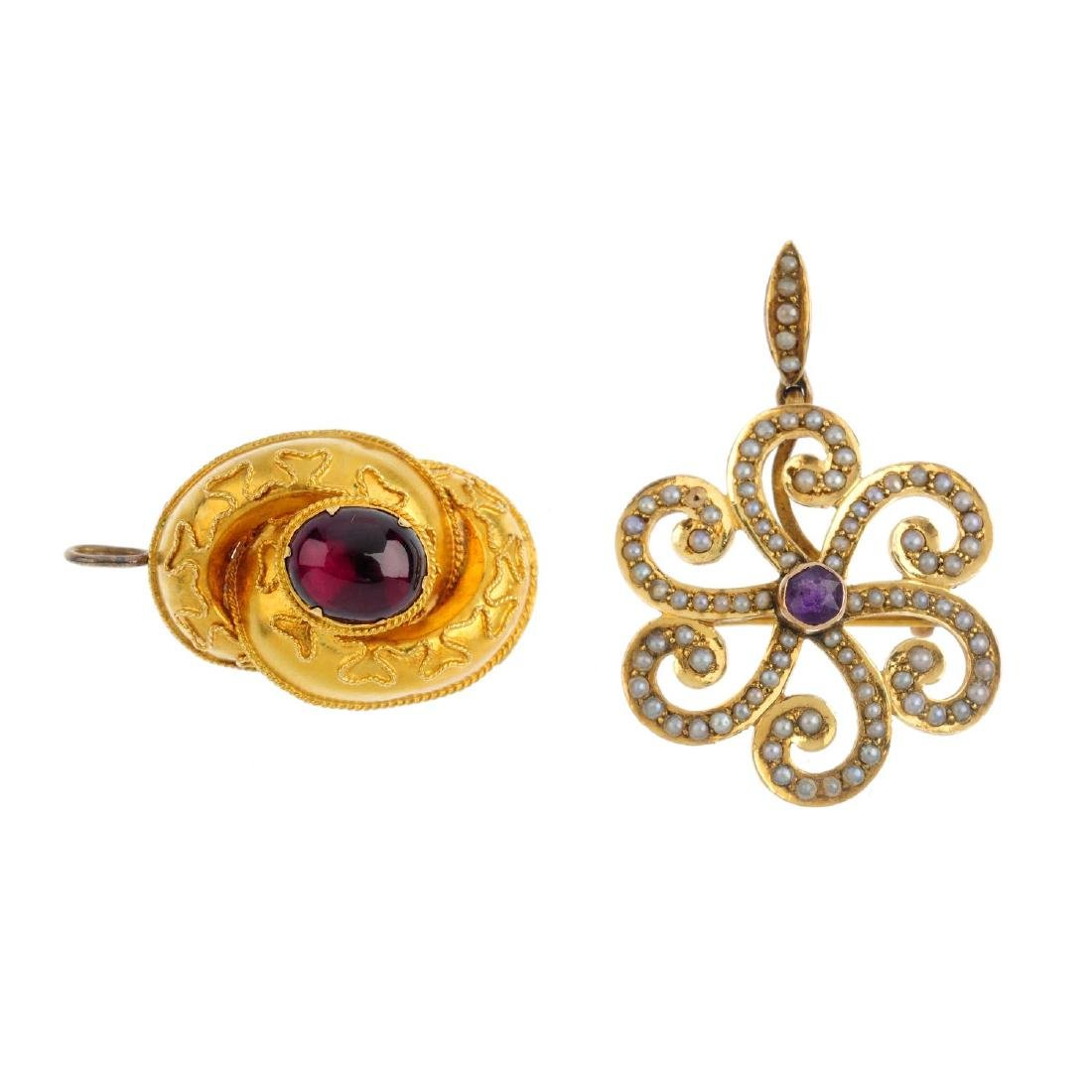 Two gold gem-set pendants. To include a mid Victorian