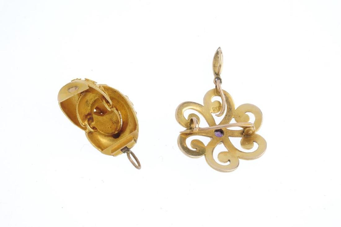Two gold gem-set pendants. To include a mid Victorian - 2