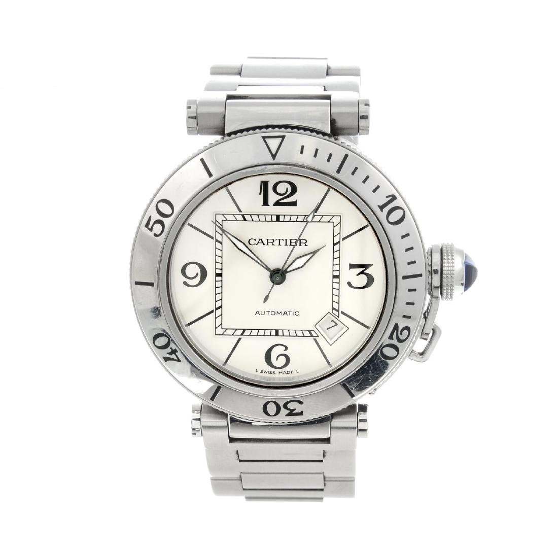 CARTIER - a Pasha bracelet watch. Stainless steel case