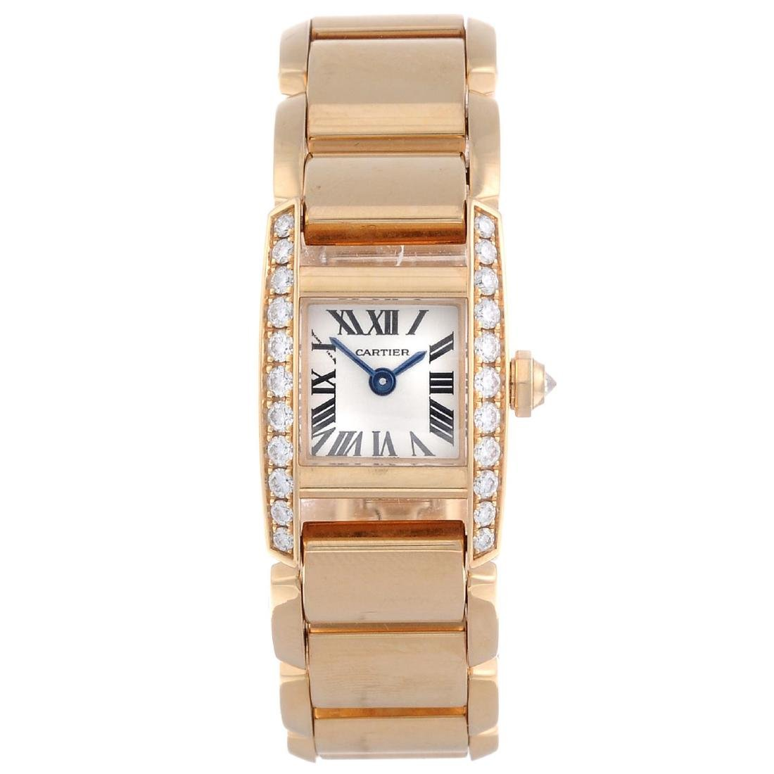 CARTIER - a Tankissime bracelet watch. 18ct rose gold