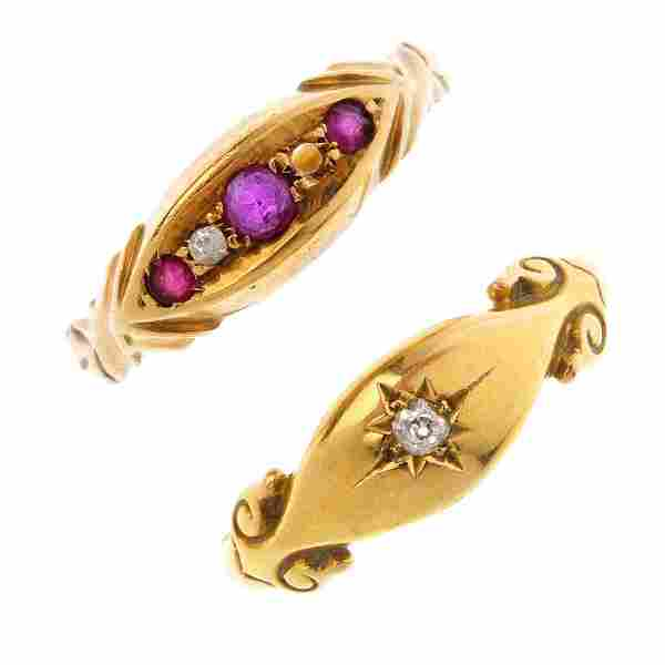 Two 18ct gold gem-set rings. To include an early 20th