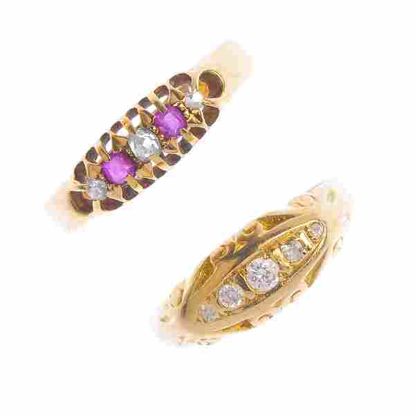 Two 18ct gold gem-set rings. To include an old-cut