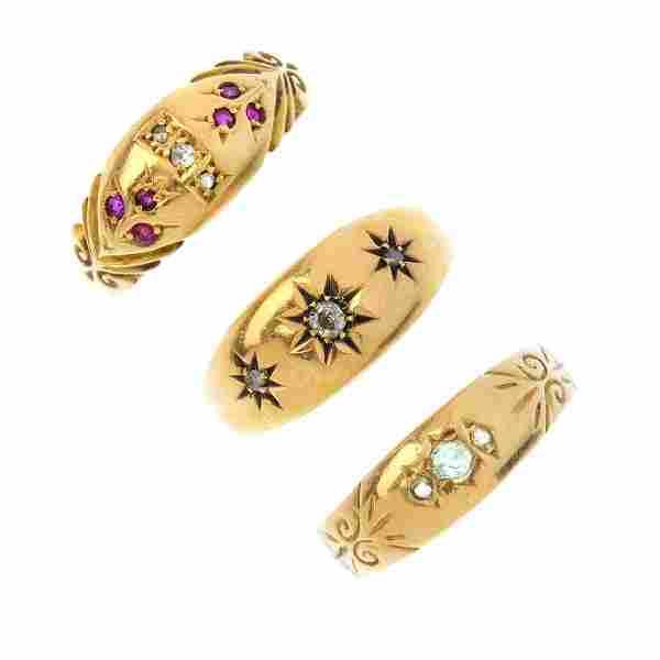 Three early 20th century 18ct gold diamond and gem-set