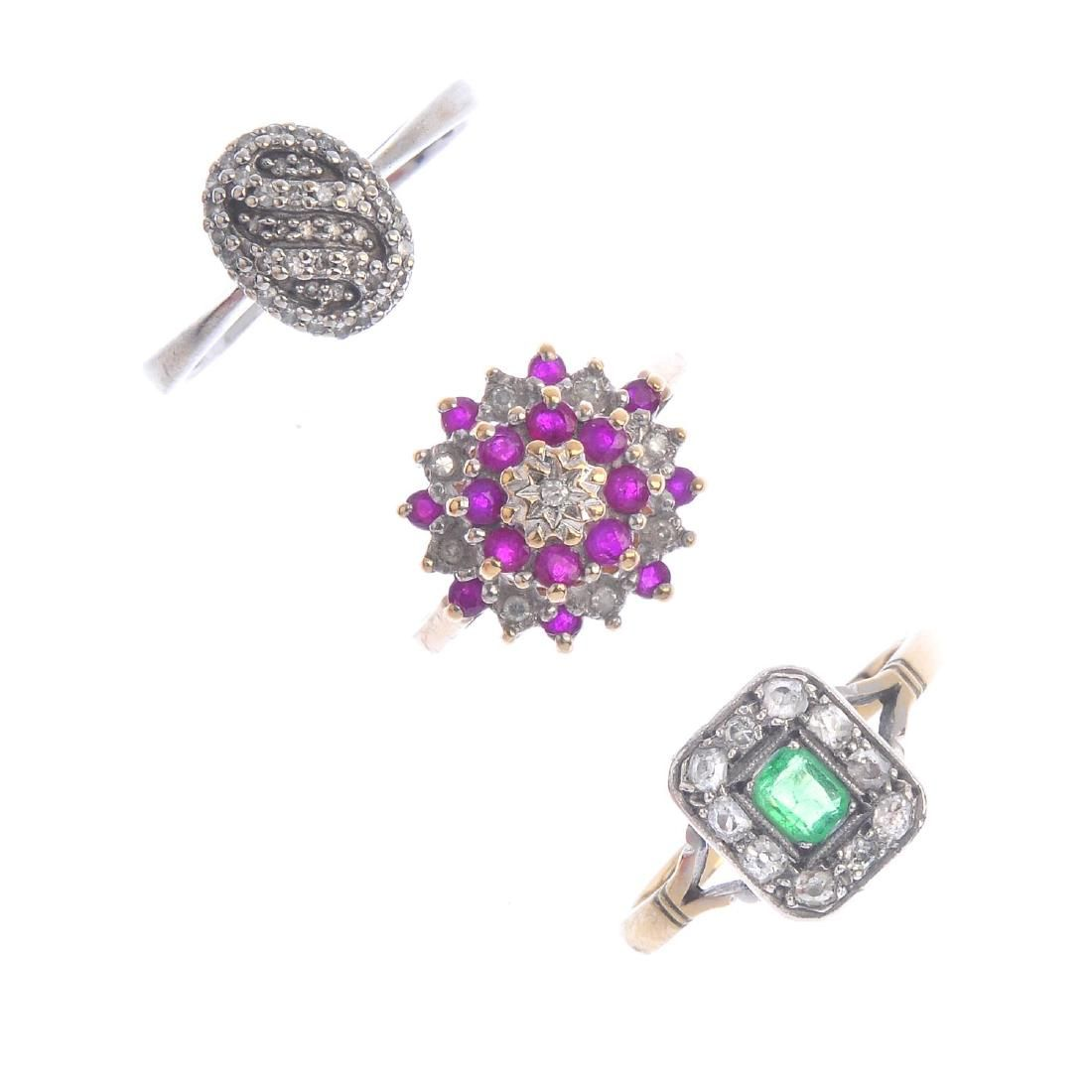 Four diamond and gem-set cluster rings. To include a