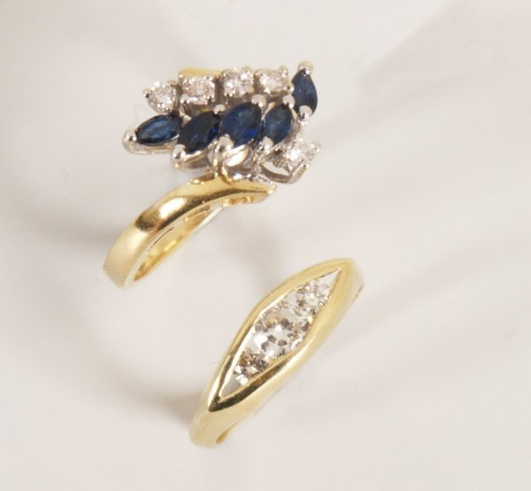 24: Two rings to include an 18ct gold sapphire and diam