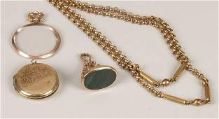 189 Four items to include a faceted metal belcher lin