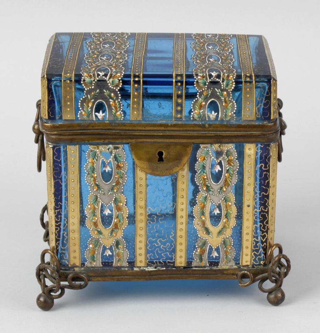 A good turquoise glass and enamel jewellery casket.