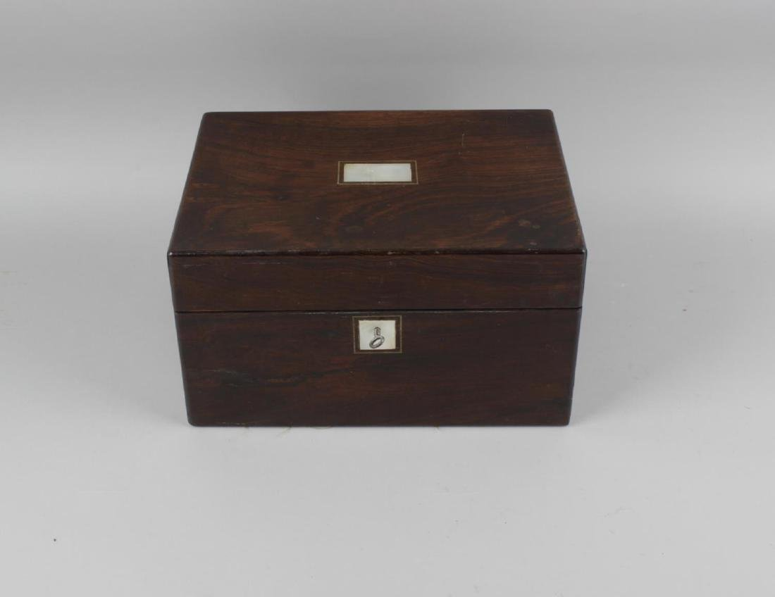 A mid 19th century rosewood travelling case, of - 2