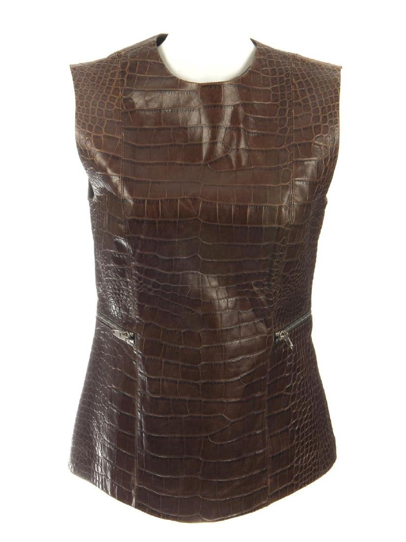 ALEXANDER WANG - an embossed leather sleeveless fitted