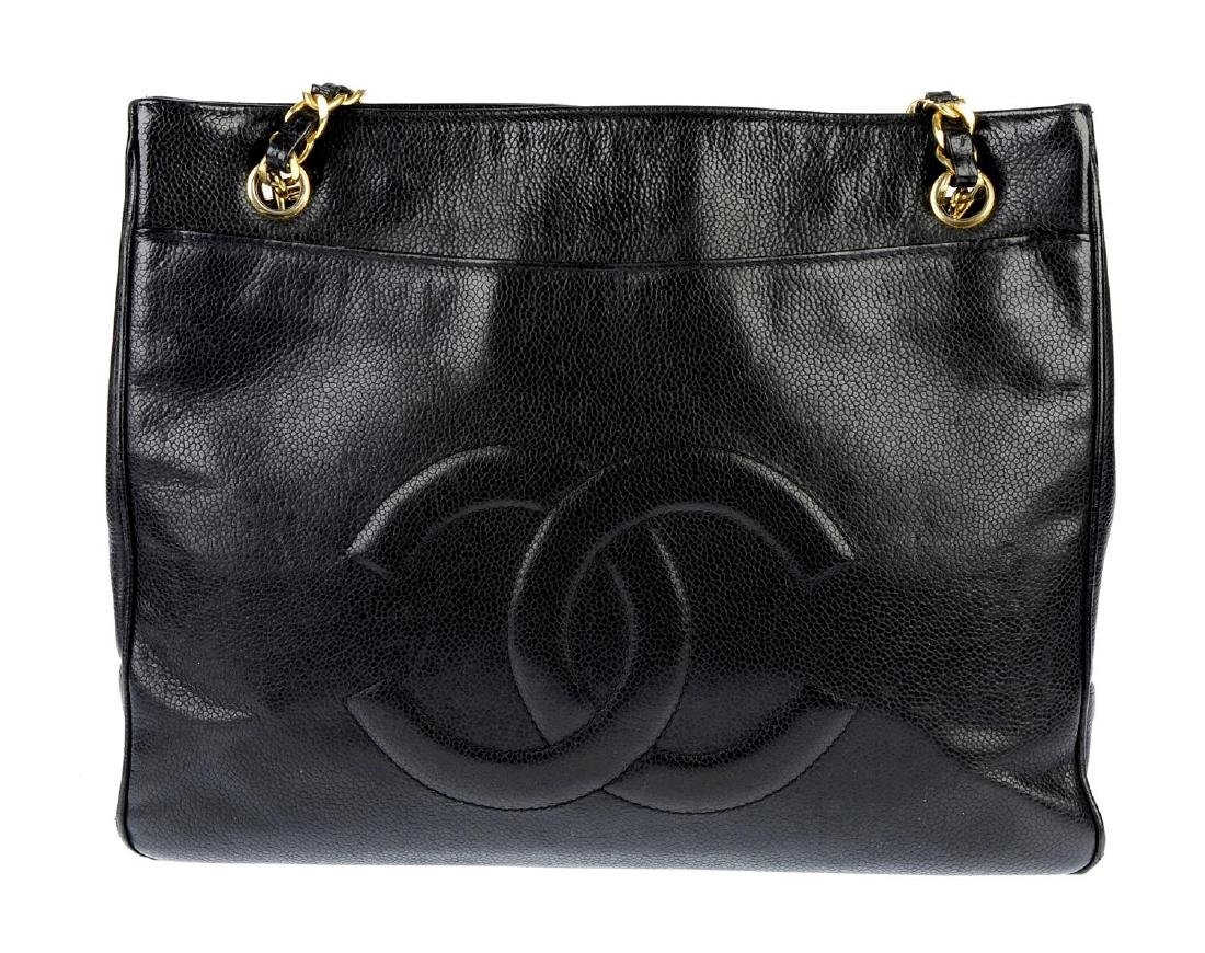 CHANEL - a Caviar leather handbag. The square tote with - 3