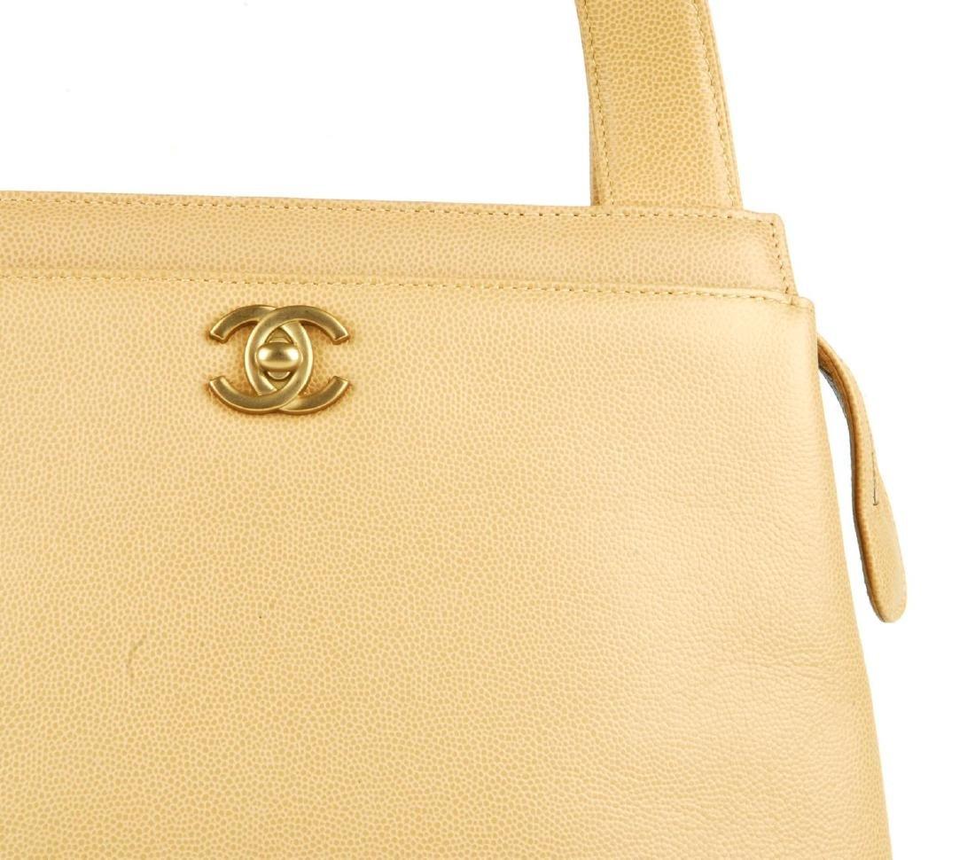 CHANEL - a late 90s small beige Caviar leather handbag. - 2