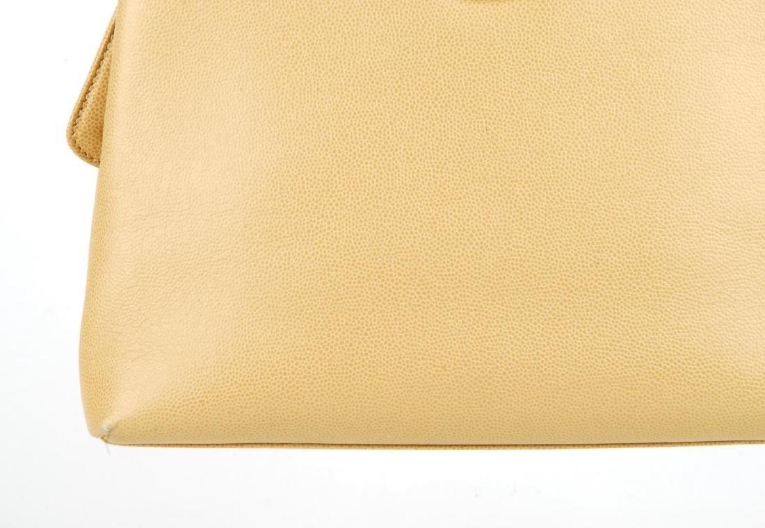 CHANEL - a late 90s small beige Caviar leather handbag. - 3