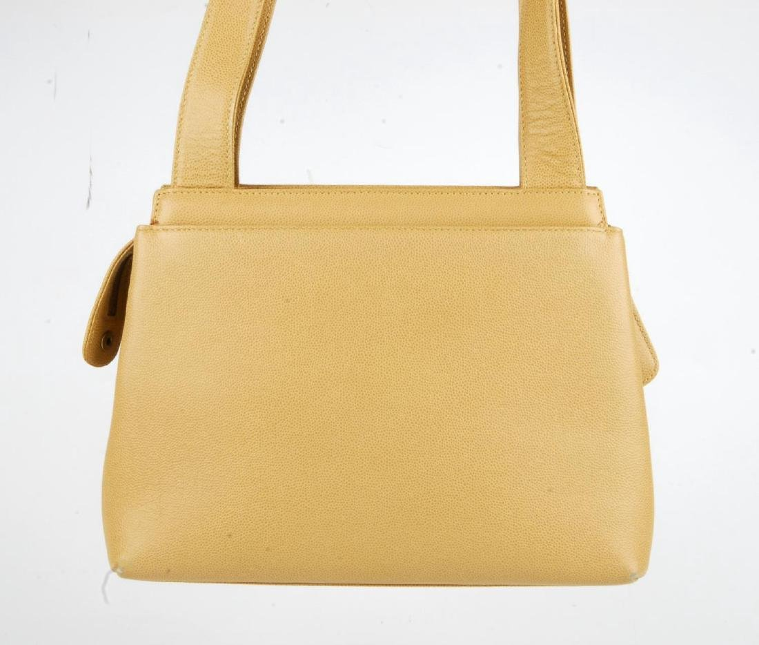 CHANEL - a late 90s small beige Caviar leather handbag. - 4