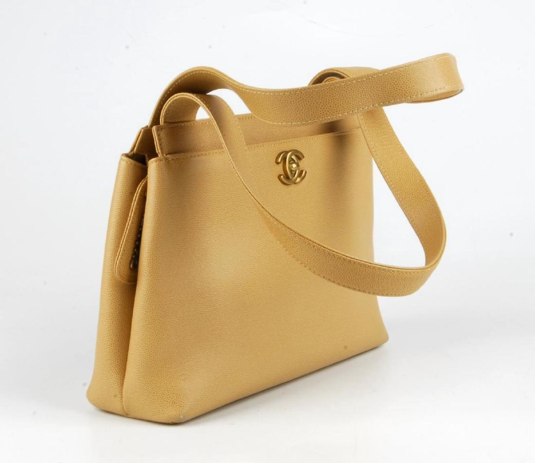 CHANEL - a late 90s small beige Caviar leather handbag. - 5