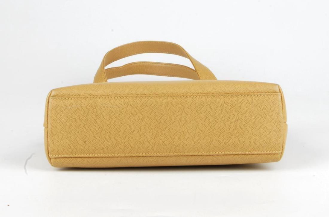 CHANEL - a late 90s small beige Caviar leather handbag. - 7