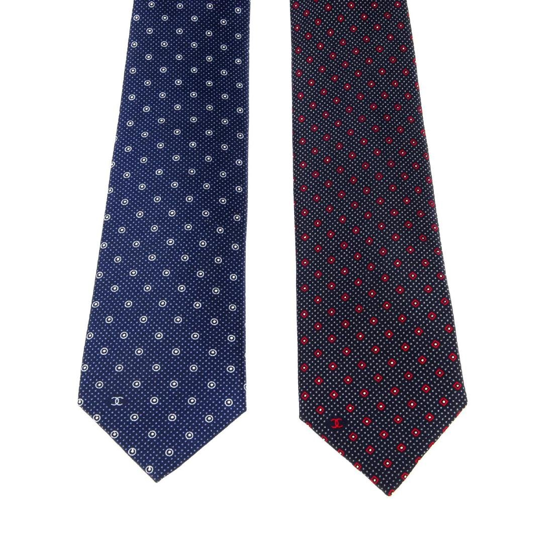 CHANEL - two ties. To include a blue example with light