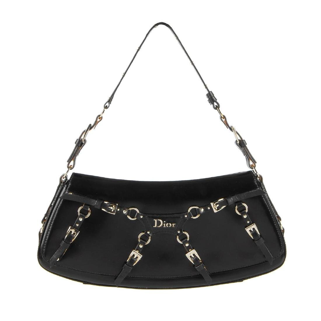 CHRISTIAN DIOR - a black coated leather baguette