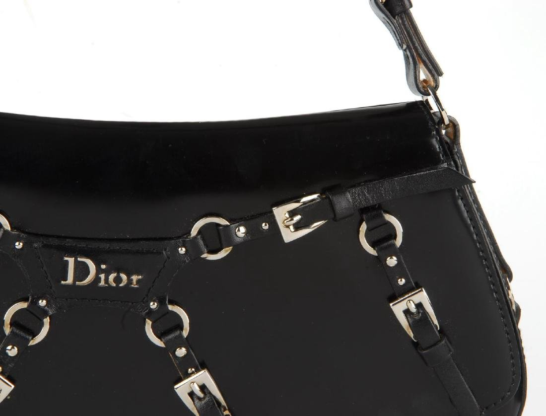 CHRISTIAN DIOR - a black coated leather baguette - 2