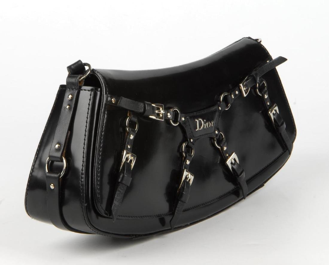 CHRISTIAN DIOR - a black coated leather baguette - 3