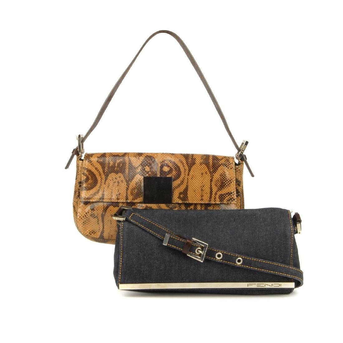 FENDI - two baguette handbags. The first, designed with